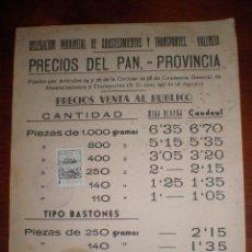 Sellos: 1959 VALENCIA. LISTADO PRECIOS DEL PAN. SELLO FISCAL 5 PTS MONTEPIO ABASTECIMIENTOS TRANSPORTES. Lote 47838514