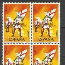 Sellos: UNIFORMES MILITARES 1 PTS SANTA HERMANDAD DE CASTILLA EDIFIL 2139 BLOQUE D 4 NUEVO**. Lote 269275043