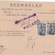Sellos: REEMBOLSO CERTIFICADO DE MADRID A PRAVIA. ASTURIAS. CON 2 SELLOS DE 1 PTA FRANCO PERFIL. 1952. Lote 48568174