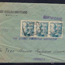 Francobolli: CARTA CERTIFICADA EL 31-5-1950. B.H.A. .DE MURCIA A LIBRILLA. Lote 48618023