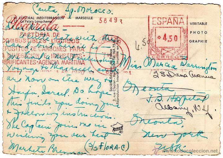 FRANQUEO MECANICO IBARROLA CEUTA 1956. TARJETA POSTAL PALACIO DE MARSELLA. MUY BONITA Y RARA. (Sellos - España - II Centenario De 1.950 a 1.975 - Cartas)