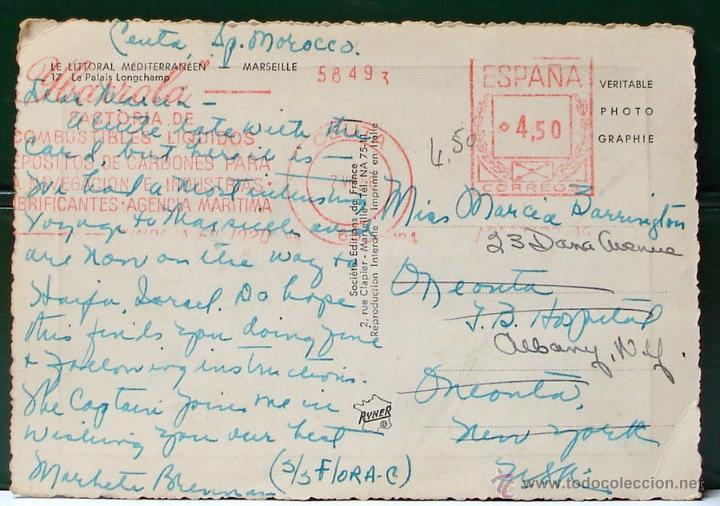 Sellos: FRANQUEO MECANICO IBARROLA CEUTA 1956. TARJETA POSTAL PALACIO DE MARSELLA. MUY BONITA Y RARA. - Foto 3 - 49103851