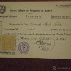 Sellos: 1952 2 SELLOS POLIZA FISCALES COLEGIO ABOGADOS MADRID, HUERFANOS 100 PS, BENEFICENCIA 50 PS RECIBO . Lote 49169276