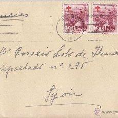 Sellos: SOBRE DE MADRID A GIJÓN. ASTURIAS. 1952. PAREJA PRO TUBERCULOSOS. Lote 49209191