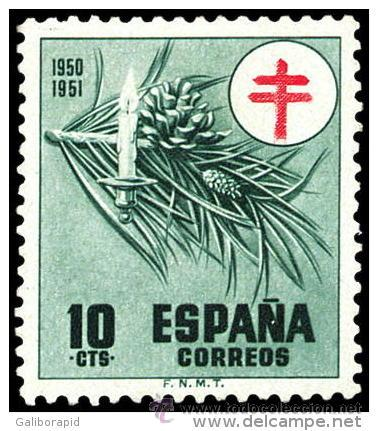 ESPAÑA AÑO 1950 EDIFIL 1085 ** MNH - PRO TUBERCULOSOS - 10C - SELLO NUEVO SIN SEÑAL DE FIJASELLOS (Sellos - España - II Centenario De 1.950 a 1.975 - Nuevos)
