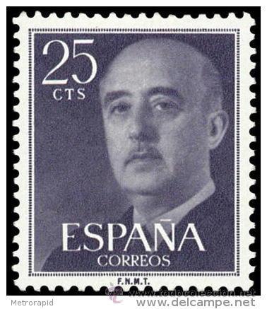 ESPAÑA AÑO 1955 EDIFIL 1146 ** MNH - GENERAL FRANCO - 25 CTS - SELLO NUEVO SIN SEÑAL DE FIJASELLOS (Sellos - España - II Centenario De 1.950 a 1.975 - Nuevos)