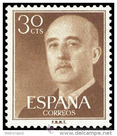 ESPAÑA AÑO 1955 EDIFIL 1147 ** MNH - GENERAL FRANCO - 30 CTS - SELLO NUEVO SIN SEÑAL DE FIJASELLOS (Sellos - España - II Centenario De 1.950 a 1.975 - Nuevos)