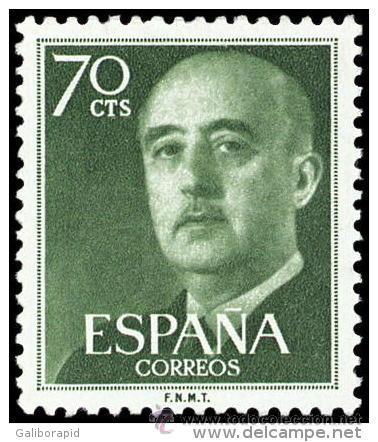 ESPAÑA AÑO 1955 EDIFIL 1151 ** MNH - GENERAL FRANCO - 70 CTS - SELLO NUEVO SIN SEÑAL DE FIJASELLOS (Sellos - España - II Centenario De 1.950 a 1.975 - Nuevos)