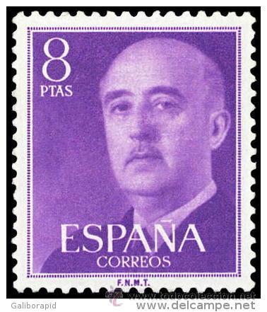 ESPAÑA AÑO 1955 EDIFIL 1162 ** MNH - GENERAL FRANCO - 8 PTAS - SELLO NUEVO SIN SEÑAL DE FIJASELLOS (Sellos - España - II Centenario De 1.950 a 1.975 - Nuevos)