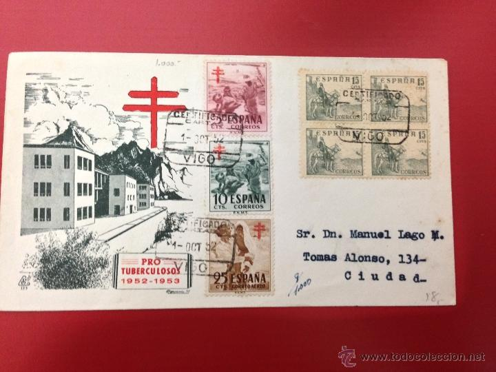 CARTA CERTIFICADA PROTUBERCULOSOS 1952 VIGO (Sellos - España - II Centenario De 1.950 a 1.975 - Cartas)
