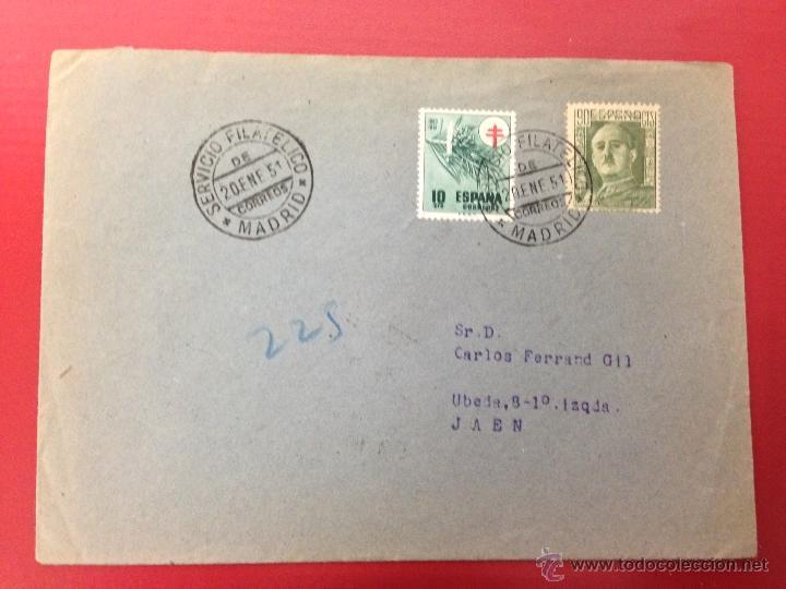 CARTA CERTIFICADA A JAEN 1951 SERVICIO OFICIAL DE CORREOS (Sellos - España - II Centenario De 1.950 a 1.975 - Cartas)