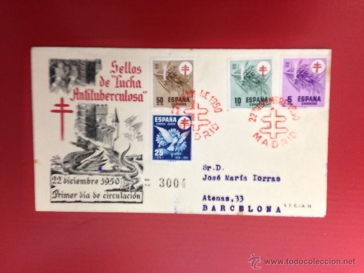 CARTA SPD 1950 LUCHA ANTITUBERCULOSA CERTIFICADA A BARCELONA (Sellos - España - II Centenario De 1.950 a 1.975 - Cartas)