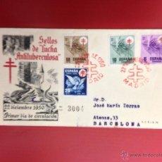 Sellos: CARTA SPD 1950 LUCHA ANTITUBERCULOSA CERTIFICADA A BARCELONA. Lote 49886258
