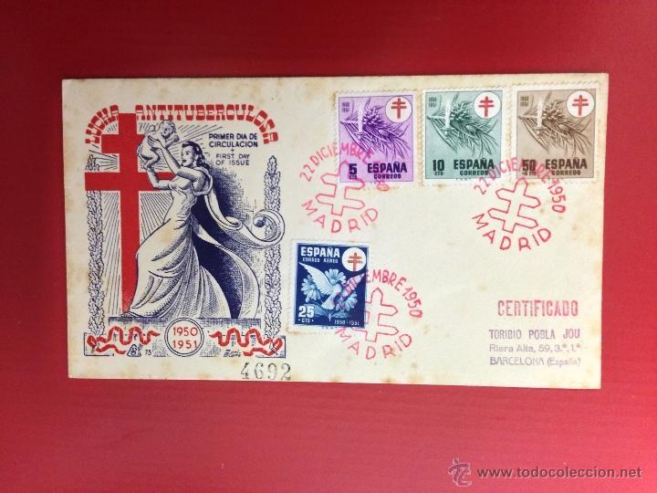 CARTA SPD 1951 LUCHA ANTITUBERCULOSA CERTIFICADA (Sellos - España - II Centenario De 1.950 a 1.975 - Cartas)
