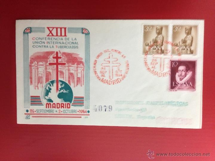 CARTA SPD CONFERENCIA INTERNACIONAL CONTRA LA TUBERCULOSIS 1954 CERTIFICADA A LERIDA (Sellos - España - II Centenario De 1.950 a 1.975 - Cartas)