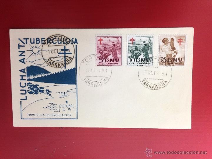 CARTA SPD 1951 LUCHA ANTITUBERCULOSA TORTOSA (Sellos - España - II Centenario De 1.950 a 1.975 - Cartas)