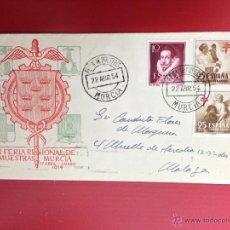 Sellos: CARTA CIRCULADA MURCIA A MALAGA MATASELLO FERIA DE MUESTRAS 1954. Lote 49886324
