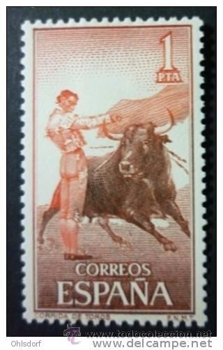 ESPAÑA AÑO 1960 EDIFIL 1261 * MH SELLO NUEVO CON FIJASELLOS - FIESTA NACIONAL TAUROMAQUIA - 1 PTA (Sellos - España - II Centenario De 1.950 a 1.975 - Nuevos)