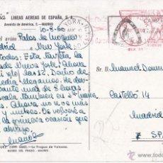 Sellos: POSTAL DE IBERIA. A BORDO DEL AVIÓN PALOS DE MOGUER DE MADRID A EE UU 1960. CORREO AÉREO. Lote 50618307