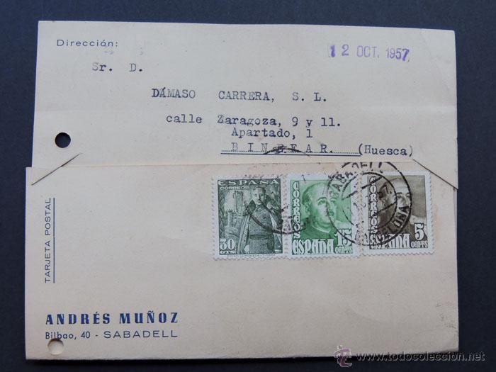 TARJETA COMERCIAL / ANDRES MUÑOZ - SABADELL 1957 (Sellos - España - II Centenario De 1.950 a 1.975 - Cartas)