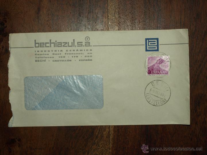 SOBRE CIRCULADO. MATASELLOS 5 SET 1969. BECHIAZUL SA. INDUSTRIA CERAMICA BECHI. 22 X 11, 5 CM. (Sellos - España - II Centenario De 1.950 a 1.975 - Cartas)