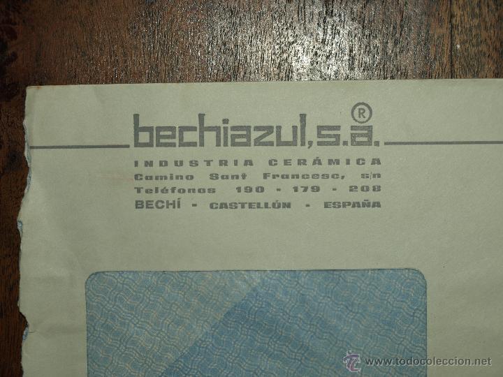 Sellos: SOBRE CIRCULADO. MATASELLOS 5 SET 1969. BECHIAZUL SA. INDUSTRIA CERAMICA BECHI. 22 X 11, 5 CM. - Foto 2 - 50810558
