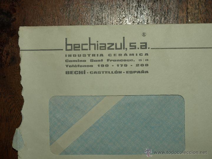 Sellos: SOBRE CIRCULADO. MATASELLOS 10 OCT 1969. BECHIAZUL SA. INDUSTRIA CERAMICA BECHI. 22 X 11, 5 CM. - Foto 3 - 50810568