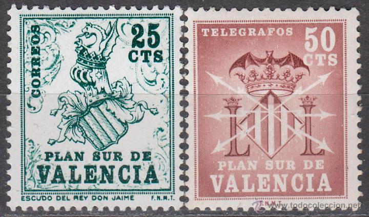VALENCIA EDIFIL Nº 1/2, ESCUDO DE JAIME I Y TELEGRAFOS, NUEVO *** (Sellos - España - II Centenario De 1.950 a 1.975 - Nuevos)