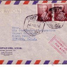 Sellos: F12-8-CARTA CORREO AEREO LAS PALMAS- USA 1951. Lote 51324366