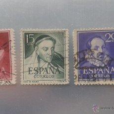 Sellos: EDIFIL 1072 1073 Y 1074. LITERATOS. 1950-1953. Lote 51703329