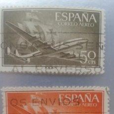 Sellos: EDIFIL 1171 Y 11772. SUPERCONSTELLACION Y NAO SANTA MARÍA. SELLO AÉREO. 1955-1956. Lote 51703404