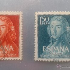 Sellos: EDIFIL 1328 Y 1329. SERIE COMPLETA LEANDRO FERNANDEZ DE MORATIN. 1961. Lote 51703565
