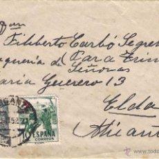 Sellos: SOBRE CON CARTA DE ALICANTE A ELDA, EL 2-OCT-52. Lote 52671237