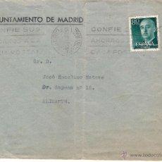 Sellos: AYUNTAMIENTO DE MADRID. CARTA A ALICANTE EL 6-12-57. Lote 52723181