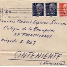 Sellos: SOBRE CIRCULADO DE ALICANTE A ONTENIENTE, DD. EL 9-3-57. Lote 52723515