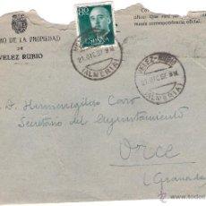 Sellos: REGISTRO DE LA PROPIEDAD.VELEZ RUBIO. CARTA A ORCE (GRANADA), EL 21-12-57. Lote 52811336