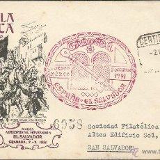 Sellos: ESPAÑA - CORREO AEREO - CARTA VOLADA DE ESPAÑA AL SALVADOR. CERTIFICADO DE BARCELONA . Lote 52842898