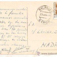 Sellos: BUEN MATASELLOS DE BALAGUER , LERIDA. 1956. - VELL I BELL. Lote 52858697