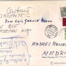 Sellos: SOBRE CIRCULADO URGENTE DE MÁLAGA A MADRID, EL 14-SEP-71. Lote 52898521