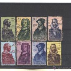 Sellos: ESPAÑA 1961 - EDIFIL NRO. 1374-81 - FORJADORES DE AMERICA - USADOS. Lote 38457455