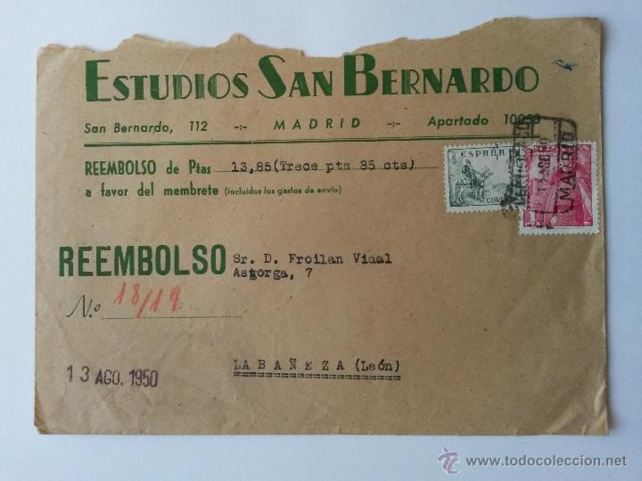 CARTA ,DE MADRID 1950 ,PUBLICIDAD,REEMBOLSO CERTIFICADO SELLOS DETRAS (Sellos - España - II Centenario De 1.950 a 1.975 - Cartas)
