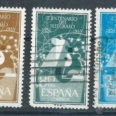 Sellos: R7/ ESPAÑA USADOS 1955, EDF. 1180/82, I CENTENARIO DEL TELEGRAFO. Lote 53765026
