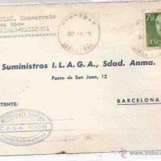 Sellos: TARJETA. SUMINISTROS ILAGA. PORRERAS, BALEARES. BARCELONA, 20 DE JULIO DE 1965.. Lote 53890924
