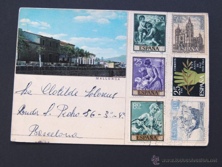 POSTAL REALIZADA CON MONTAJE DE FOTO - PALMA DE MALLORCA / CIRCULADA (Sellos - España - II Centenario De 1.950 a 1.975 - Cartas)