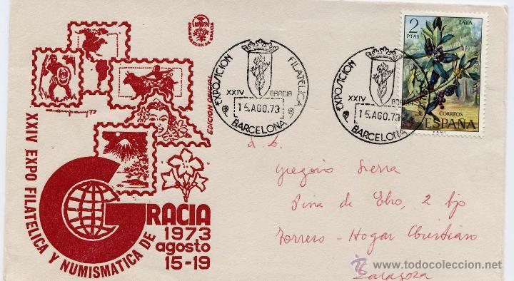 SOBRE XXIV EXPO FILATELICA Y NUMISMATICA DE GRACIA BARCELONA 15 AGOSTO 1973 (Sellos - España - II Centenario De 1.950 a 1.975 - Cartas)