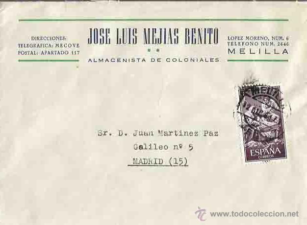 SOBRE, JOSE LUIS MEJÍAS BENITO Y CARTA. MELILLA. MADRID. 12 DE DICIEMBRE DE 1961. (Sellos - España - II Centenario De 1.950 a 1.975 - Cartas)