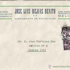 Sellos: SOBRE, JOSE LUIS MEJÍAS BENITO Y CARTA. MELILLA. MADRID. 12 DE DICIEMBRE DE 1961.. Lote 54560599