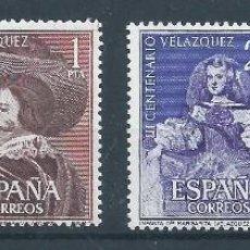 Sellos: R9/ ESPAÑA EN NUEVO** 1961, EDF, 1340/42, CAT. 21 €, III CENT. MUERTE DE VELAZQUEZ. Lote 105967532