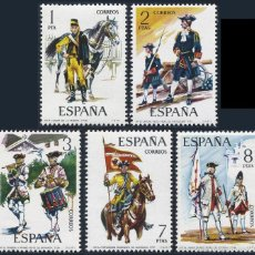 Sellos: ESPAÑA SERIE COMPLETA UNIFORMES MILITARES AÑO 1974 Nº 2197/2201 EDIFIL. Lote 152515910