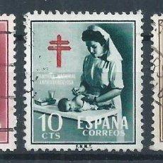Sellos: R9.G4/ ESPAÑA USADOS 1953, EDF. 1121/23, CAT. 10 €, PRO TUBERCULOSOS. Lote 56573571